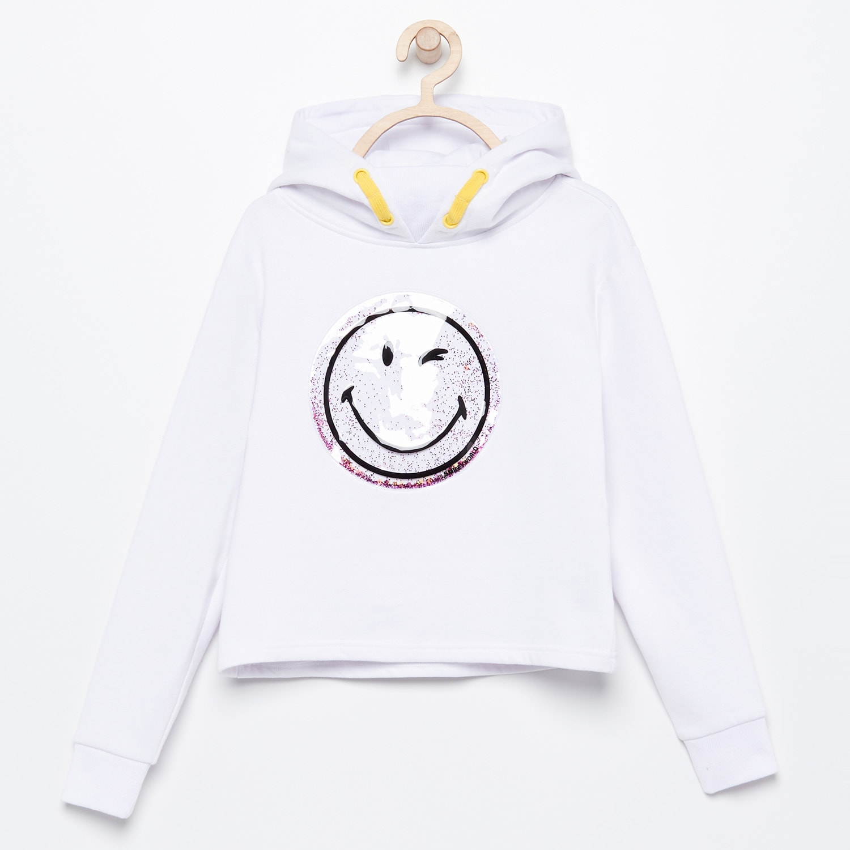 bluzy z kapturem, bluzy przez głowę reserved - bluza z kapturem smiley - biały - reserved