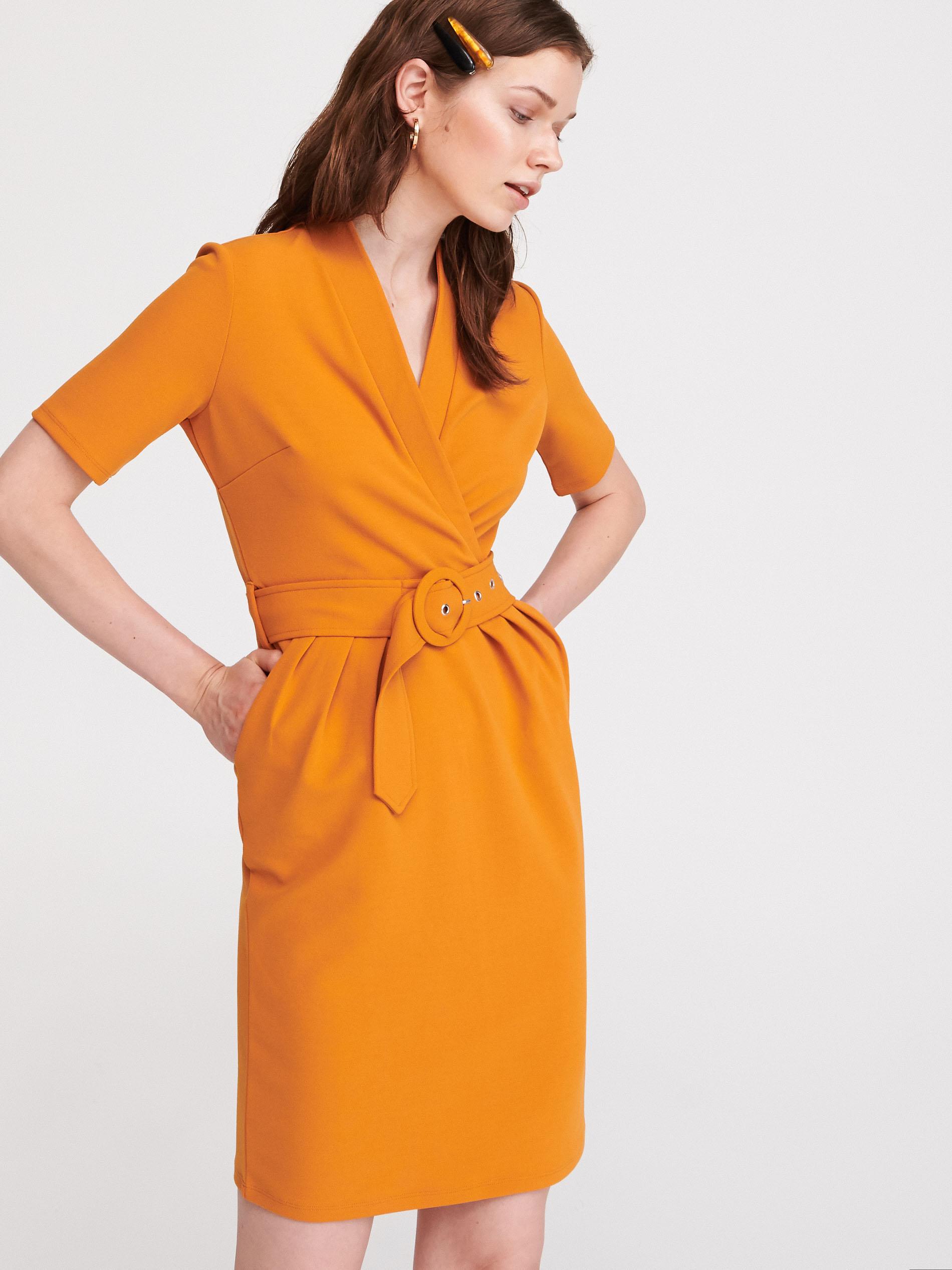 Sukienka z kopertową zakładką - żółty - WW312-18X - RESERVED - 3