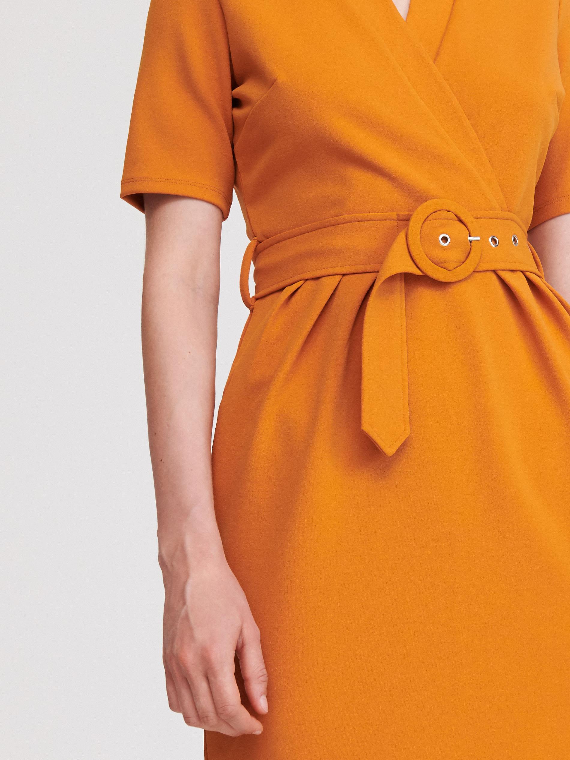 Sukienka z kopertową zakładką - żółty - WW312-18X - RESERVED - 4