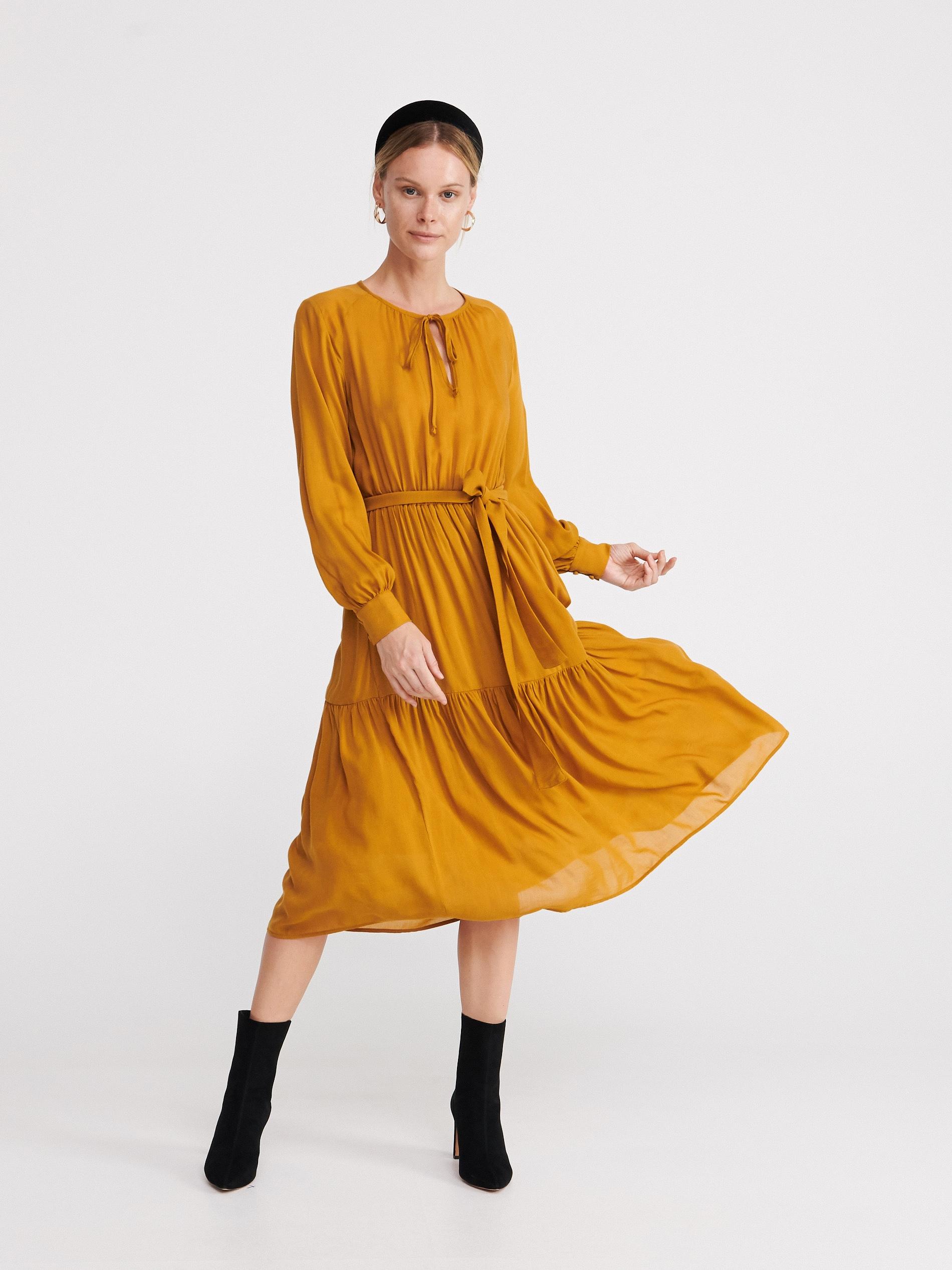 Musztardowa sukienka - żółty - XR782-18X - RESERVED - 1
