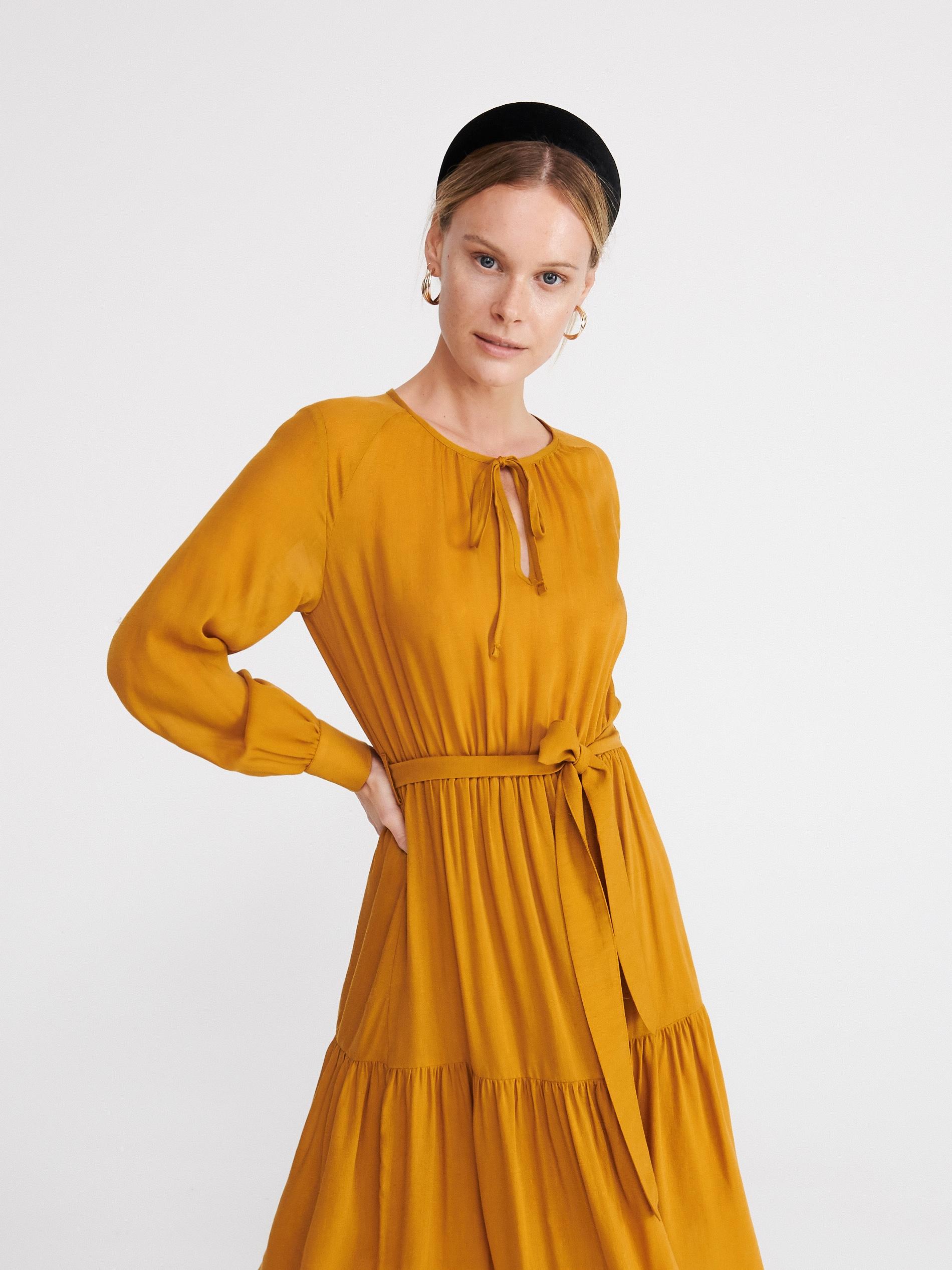 Musztardowa sukienka - żółty - XR782-18X - RESERVED - 3