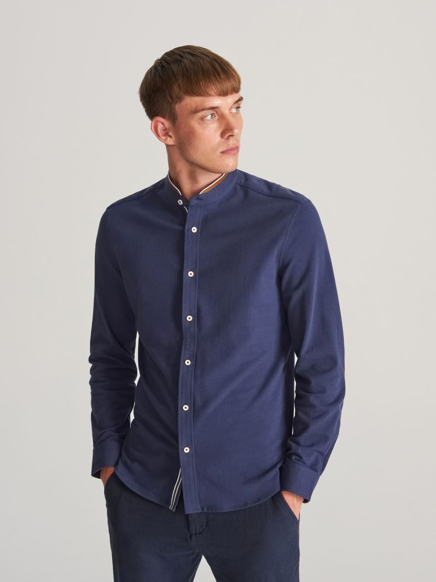 Buy online! Slim fit shirt with stand up collar, RESERVED, WG577-59X