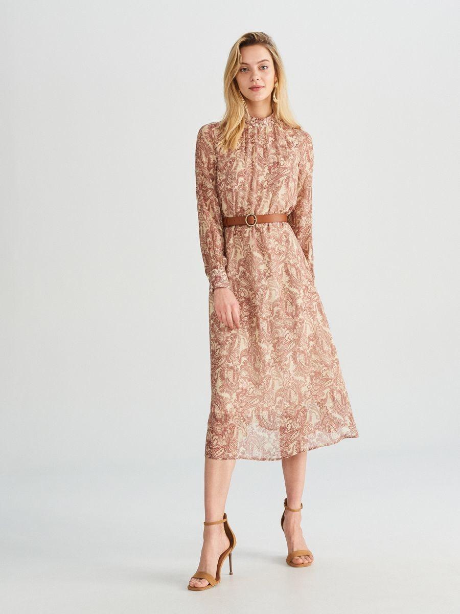 b1b2c9af Sukienka midi z domieszką jedwabiu, RESERVED, WL383-MLC