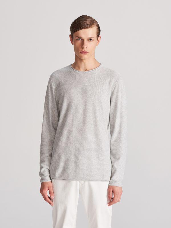 98cb41991f8a10 Sweter z bawełny organicznej · Bawełniany sweter - szary - WF079-09M -  RESERVED