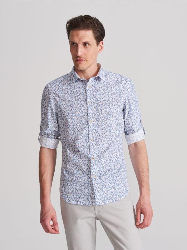 c5e12dcfdcc096 Koszula z bawełny organicznej · Wzorzysta koszula - biały - WG566-00X -  RESERVED
