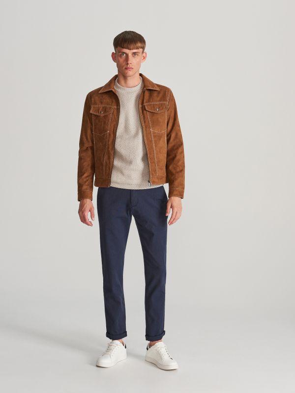 f1f050745e53b8 4 Bawełniane spodnie slim fit - granatowy - WK338-59M - RESERVED