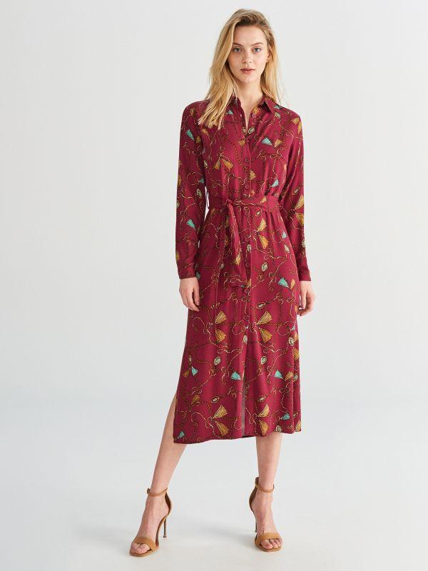 6c9e7df7dc79 Hladký overal · Vzorované košeľové šaty - bordový - WM924-93X - RESERVED