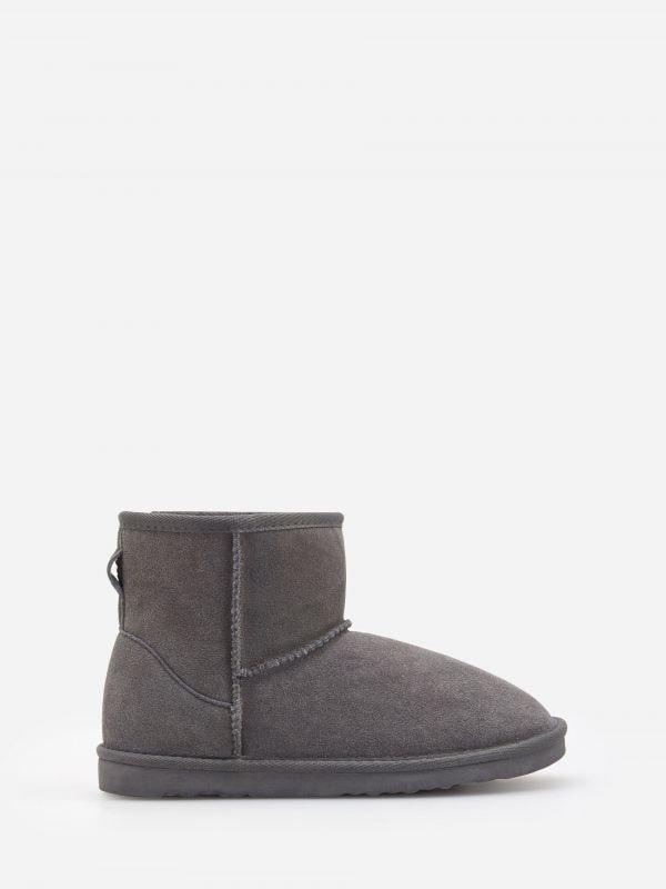 Reserved Ocieplane buty ze skóry Czarny