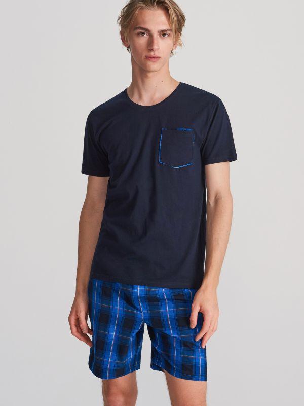 db73e362f3ddf7 Piżama z szortami · Bawełniana piżama z szortami - granatowy - WQ409-59X -  RESERVED