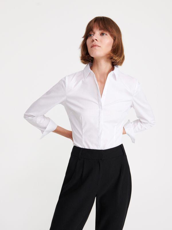 eb5a0b154264e1 Tunika z Tencelu™ · Elegancka koszula - biały - WS578-00X - RESERVED
