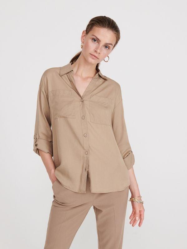 1ece8bbf010a23 Biała koszula z bawełny · Gładka koszula z Tencelu™ - beżowy - WS580-08X -  RESERVED